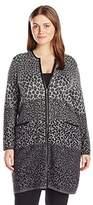 Rafaella Women's Plus Size Ombre Animal Print Duster Sweater