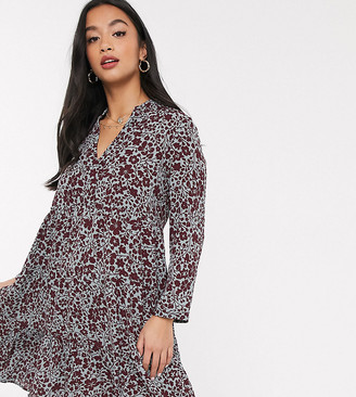 Vero Moda Petite smock dress with v neck in mixed floral