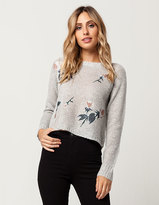 WOVEN HEART Floral Embellished Womens Sweater