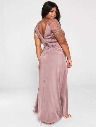 Little Mistress Curve Slinky Mesh Trim Stretch Maxi Dress - Mink