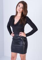 Missy Empire Elissa Black Slinky Cowl Neck Bodysuit