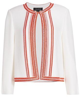 St. John Basket Stripe Knit Wool-Blend Jacket