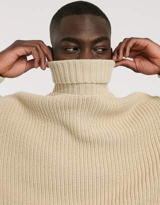 Asos Design DESIGN oversized fisherman rib roll neck sweater in oatmeal-Beige