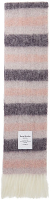 Acne Studios Pink and Purple Alpaca Striped Scarf