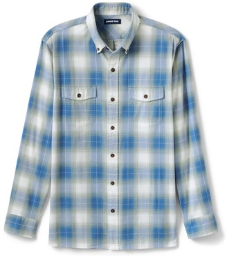 Lands' End Men's Traditional-Fit Comfort-First Lightweight Plaid Flannel Button-Down Shirt