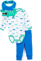 Bon Bebe Blue & Green Alligator Bodysuit Set