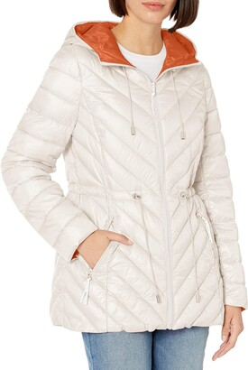 French Connection Women's Light Weight Chevron Quilted Anorak Packable