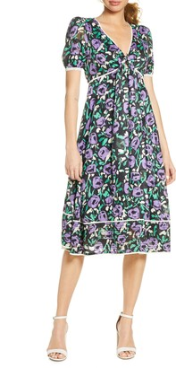 Foxiedox Monet Floral Tie Front Midi Dress