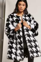 Forever 21 SHACI Faux Fur Houndstooth Coat