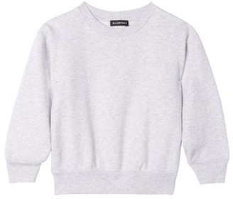 Balenciaga Kids Logo-embroidered Cotton-blend Sweatshirt - Light Grey