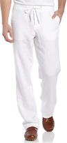 Neiman Marcus Linen Drawstring Pants, White