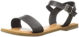 Rampage Women's Malta Ankle Strap Open Toe Flat Sandal with Memory Foam