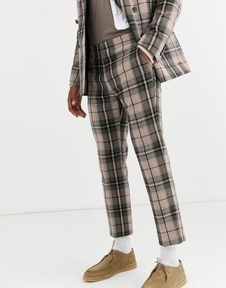 ASOS DESIGN skinny crop suit pants in camel check