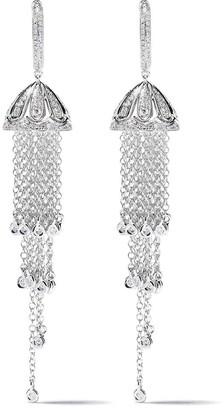 Shay 18kt White Gold Tassel Diamond Chain Earrings