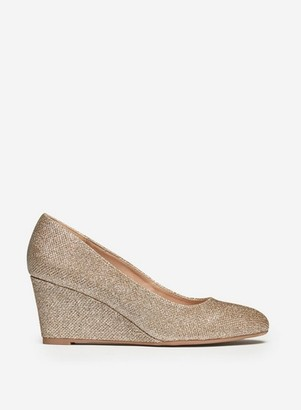Dorothy Perkins Womens Wide Fit Gold 'Dreamer' Wedge Court Shoes, Gold