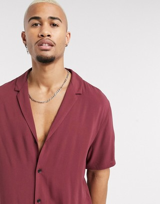 ASOS DESIGN relaxed fit viscose shirt with deep revere collar in burgundy