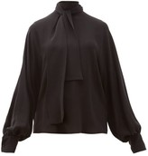 Valentino Tie-neck Silk-georgette Blouse - Womens - Black
