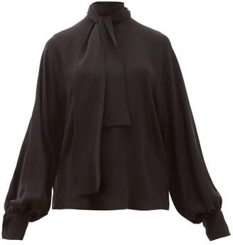 Valentino Tie-neck Silk-georgette Blouse - Womens - Black