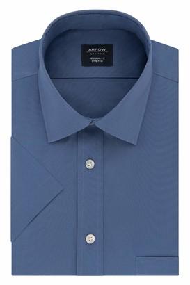 Arrow Men's Short Sleeve Dress Shirt Regular Fit Stretch Solid
