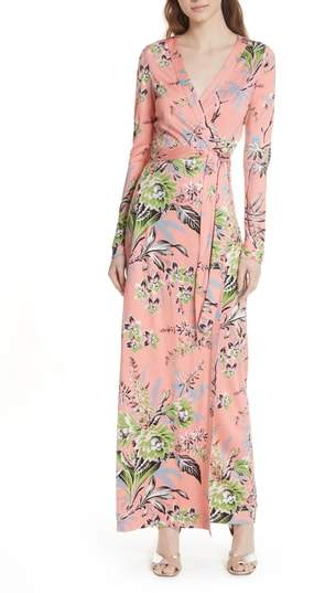 Diane von Furstenberg Floral Shawl Collar Silk Wrap Dress