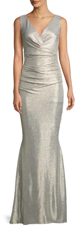 Talbot Runhof Sleeveless V-Neck Micro-Dot Laminated Mermaid Evening Gown