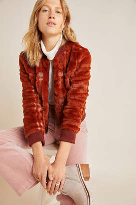 Anthropologie Plaid Teddy Bomber Jacket