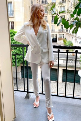 Nasty Gal Womens Home Office Tailored Slit Trousers - White - S