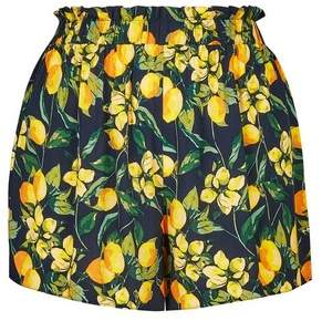 Dorothy Perkins Womens **Dp Curve Blue Lemon Print Tie Waist Shorts