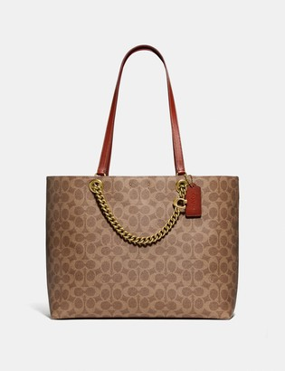 Coach Signature Chain Convertible Tote In Signature Canvas