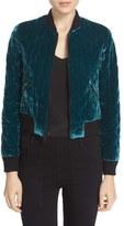 Alice + Olivia Women's 'Demia' Quilted Velvet Crop Bomber Jacket