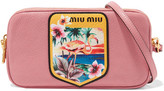 Miu Miu Printed Textured-leather Camera Bag - Pink