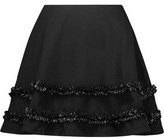 McQ Ruffled Faux Leather-Trimmed Cotton-Twill Mini Skirt