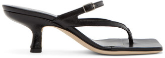 BY FAR Black Creased Leather Desiree Heeled Sandals