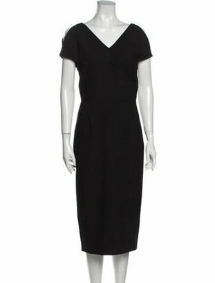 Roland Mouret V-Neck Midi Length Dress Black