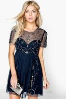 boohoo NEW Womens Boutique Ela Embellished Skater Dress in Polyester