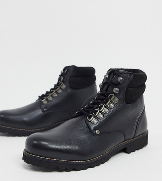 Original Penguin wide fit padded collar lace up hiker boots in black leather