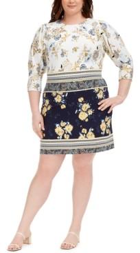 Vince Camuto Plus Size Mixed-Print Dress