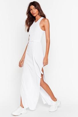Nasty Gal Womens Slit 'Em Up Belted Maxi Dress - White