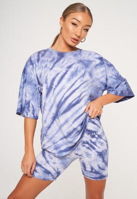 Missguided Blue Tie Dye Oversized T Shirt And Cycling Shorts Co Ord Set