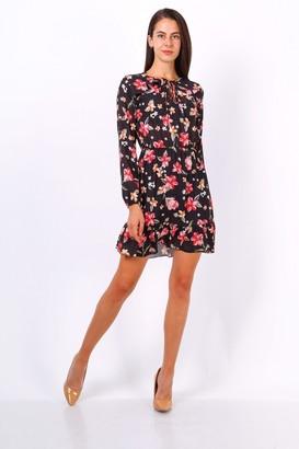 Lilura London Black Floral Print Tie Neck Shift Dress