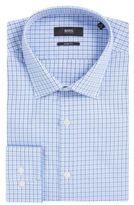 HUGO BOSS Tattersall Cotton Dress Shirt, Sharp Fit Marley US 16.5/L Blue