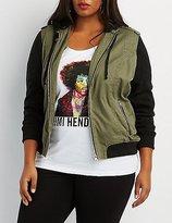 Charlotte Russe Plus Size Fleece-Trim Hooded Bomber Jacket