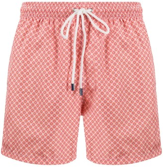 Fedeli Geometric-Print Swim Shorts