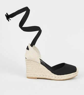 New Look Canvas Ribbon Ankle Tie Espadrille Wedges
