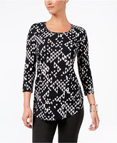 JM Collection Petite Printed Shirttail-Hem Top, Only at Macy's