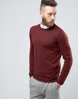 Asos Merino Wool Crew Neck Sweater in Burgundy