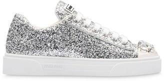 Miu Miu Glitter Crystal-Embellished Low-Top Sneakers