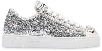 Miu Miu glitter crystal-embellished low-top sneakers