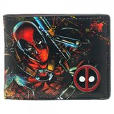"Bioworld Marvel Extreme Deadpool Bi-Fold Mens Wallet with Metal Badge 4""x3"" Faux Leather"