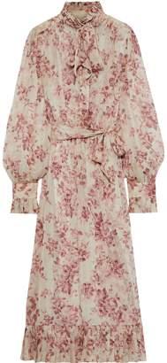Zimmermann Unbridled Pussy-bow Floral-print Silk-georgette Midi Dress
